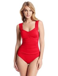haute wave shirred front one piece swimsuit